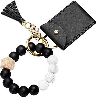 Keychain Bracelet Wristlet with Card Wallet, Silicone Beaded Key Ring Bracelet, Elastic Keyring Bangle for Women