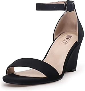 Women's IN3 Ankle Strap Low Heel Wedge Sandals Open Toe Dress Evening Shoes (10, Black Nubuck)