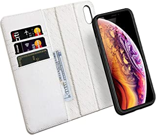 ZOVER Compatible with iPhone Xs/X Case Detachable Genuine Leather Wallet Case Support Wireless Charging Magnetic Car Mount Holder Kickstand Feature Magnetic Closure Gift Box White