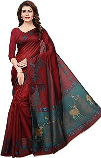 KANCHNAR Women's Art Silk Printed Saree(849S396_Maroon_Freesize)