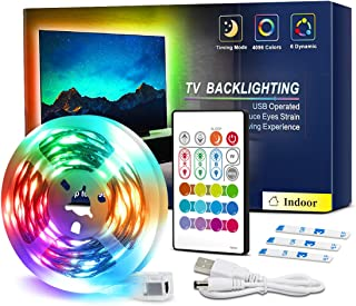 TV LED Backlight 6.56ft-13ft RGB 5050LEDs 4096 Colors Changing 30mins Timing Off LED Strip Lights with Remote for 32-70in TV 5V USD Powered LED Tape Light Kits for Monitor Bedroom Desk Ambient Light