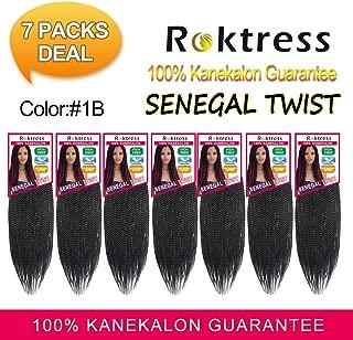 "Roktress Senegalese Twist Hair Kanekalon Synthetic Crochet Twist Braids Braiding Hair (22""7PCS, 1B#)"