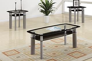 Poundex F3091 Ultra Modern 3 Piece Coffee Set w/Glass Table Top, Multi