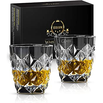 Whiskey Glasses, Whiskey Glass Set of 2, Veecom 10oz Old Fashioned Bourbon Glasses Diamond Rocks Glass for Scotch, Cocktail, Bar Drink Glasses Whiskey Gifts for Men, Dad Birthday