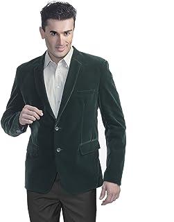 LUXURAZI Men's Ultrafine Velvet Blazer Green