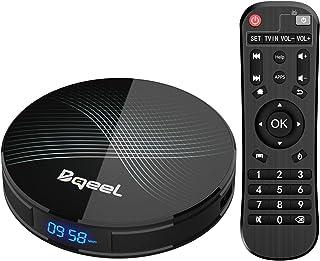 Última versión-Bqeel Android 9.0 TV Box 【4G+128G】 con el Chip RK3328 Quad-Core 64bit Cortex-A53 Android TV Box, Wi-Fi-Dual 2.4GHz/5GHz, Bluetooth 4.0 , 4K*2K UHD Smart TV Box