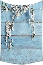 Rustic Home Decor Tapestry A Branch with Spring Flowers on Wooden Fragility Symbol of Spring Wall Hanging for Bedroom Livi...