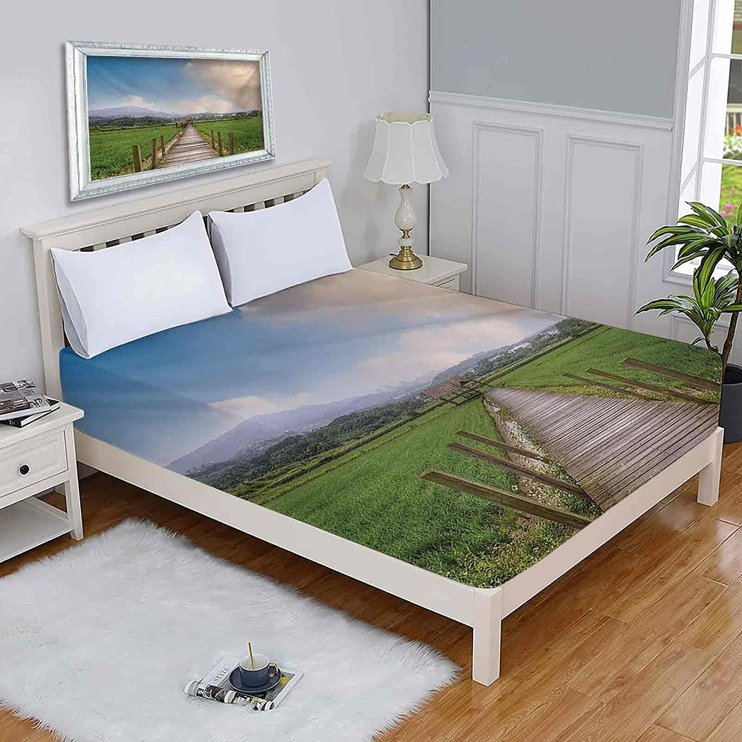 New popularity Country Queen List price Mattress Protector Rural Scenery Wooden with Path