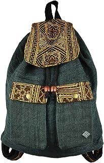 Mochila pequeña y Linda de Picnic Hecha de 100% cáñamo con Hermosas Decoraciones como Ropa étnica – Magisch