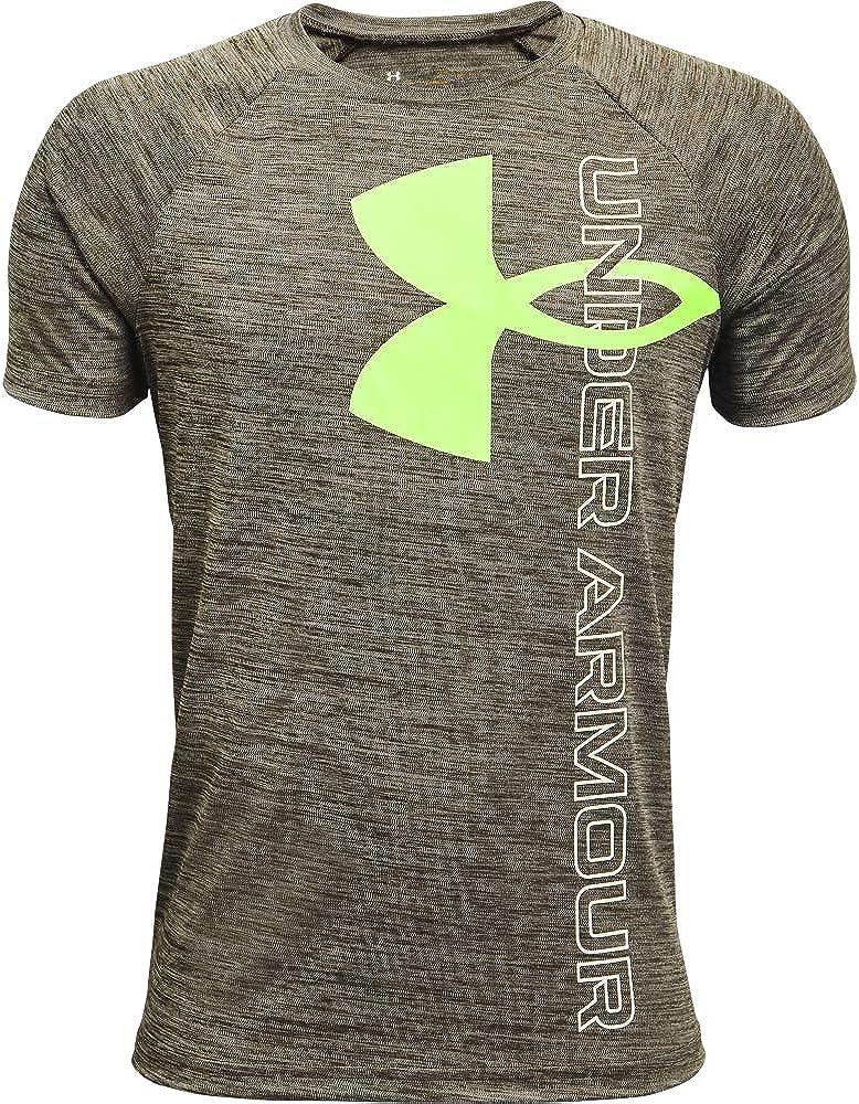 Under Armour Boys' Tech Split Logo Hybrid Short-Sleeve T-Shirt: Clothing