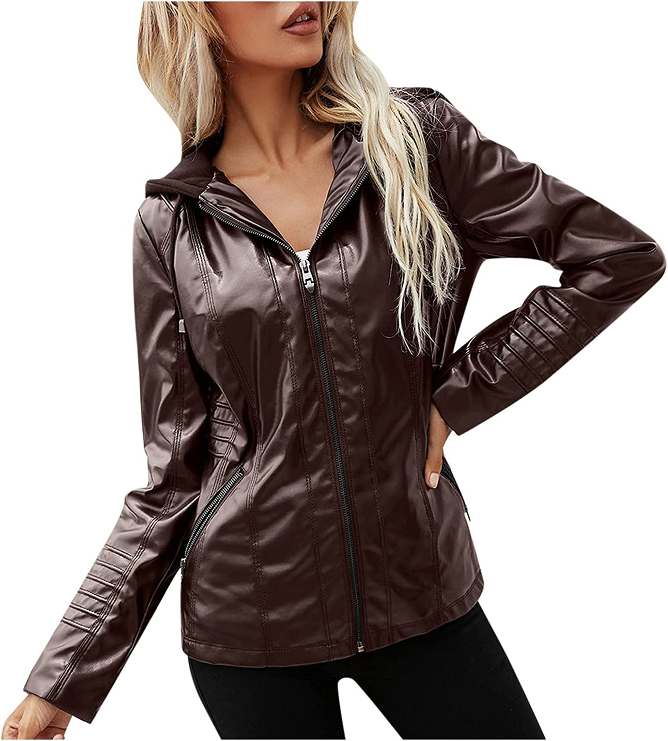 Xinantime Women's Zipper Faux Leather Jacket Motorcycle Basic Hoodies Coat Ladies Pure Color Biker Outwear with Pocket