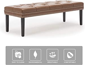 DAGONHIL Rectangular Ottoman,Leather Upholstered Bench,Vintage Casual Footstool for Living Room (Brown)