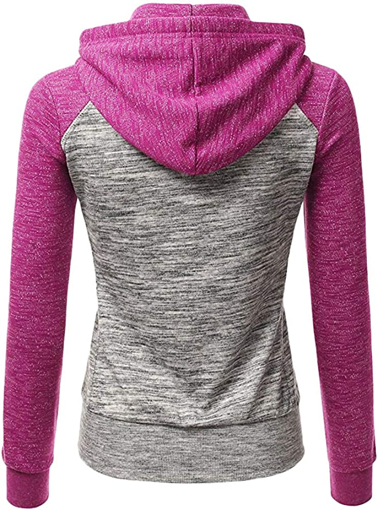 ORANDESIGNE Damen Sweatjacke Herbst Hoodie Sweatshirt Jacke Pullover Oberteile Kapuzenpullover V Ausschnitt Patchwork Pulli mit Kordel und Zip A Violett