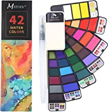 MEEDEN Watercolor Paint Set, 42 Assorted Colors Foldable Paint Set with Water Brush, Travel Pocket Watercolor Kit for Students Adults Beginning Artist Watercolor Painters Field Sketch Outdoor Painting