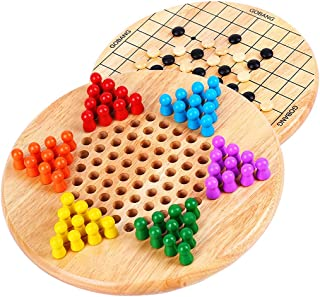 2-in-1 Reversible Chinese Checkers & Gobang (Five in a Row) Wooden Board Game Family Game Toys for Adults and Kids