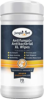 Antifungal + Antibacterial Medicated Wipes for Dogs & Cats - with Ketoconazole & Chlorhexidine - for Hot Spots, Ring Worm, Itch & Irritation