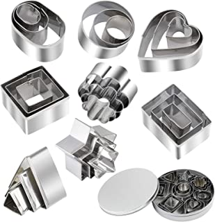 24 Piece Mini Geometric Stainless Steel Biscuit Mold Cookie Biscuit Cutter Set Rectangle Square Heart Triangle Round Tiny ...