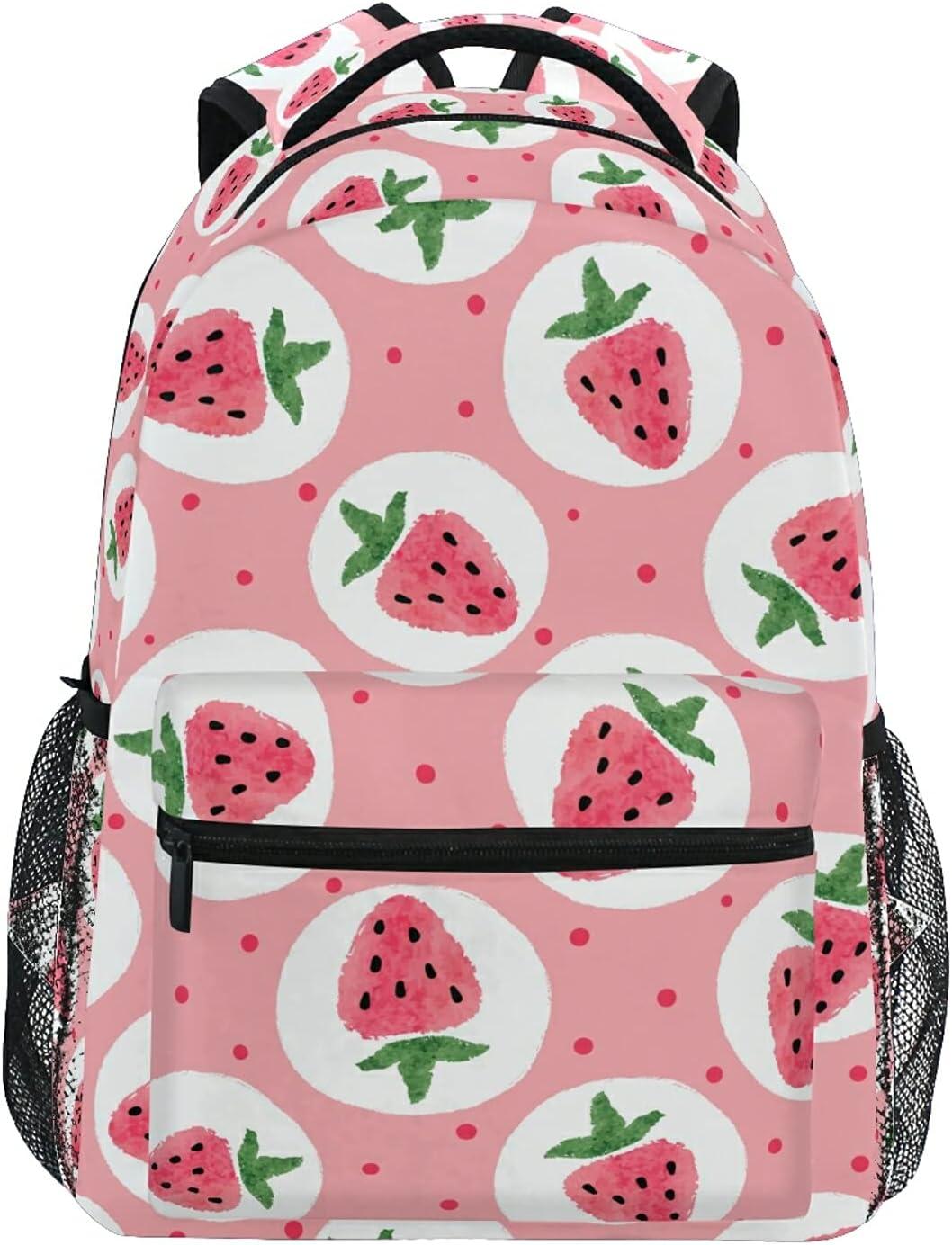 UWLIFE Dealing full price reduction Fruit Strawberry Polka Dot School Backpack K Popular product for Boy Girl