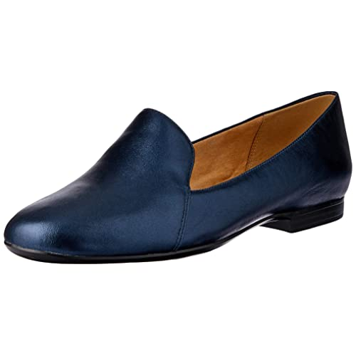 factory outlet online here free shipping Navy Leather Women's Loafers: Amazon.com