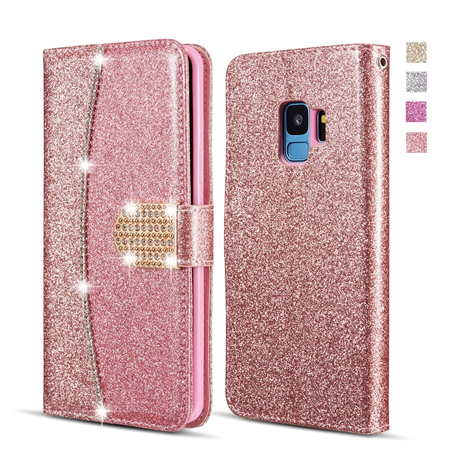 UEEBAI Wallet Flip Case for Huawei Mate 20 Lite,Premium Glitter Glossy PU Leather Case with Diamond Buckle [Card Slots] [Magnetic Clasp] Stand Function Rhinestone Strap Handbag TPU Cover - Rose Gold