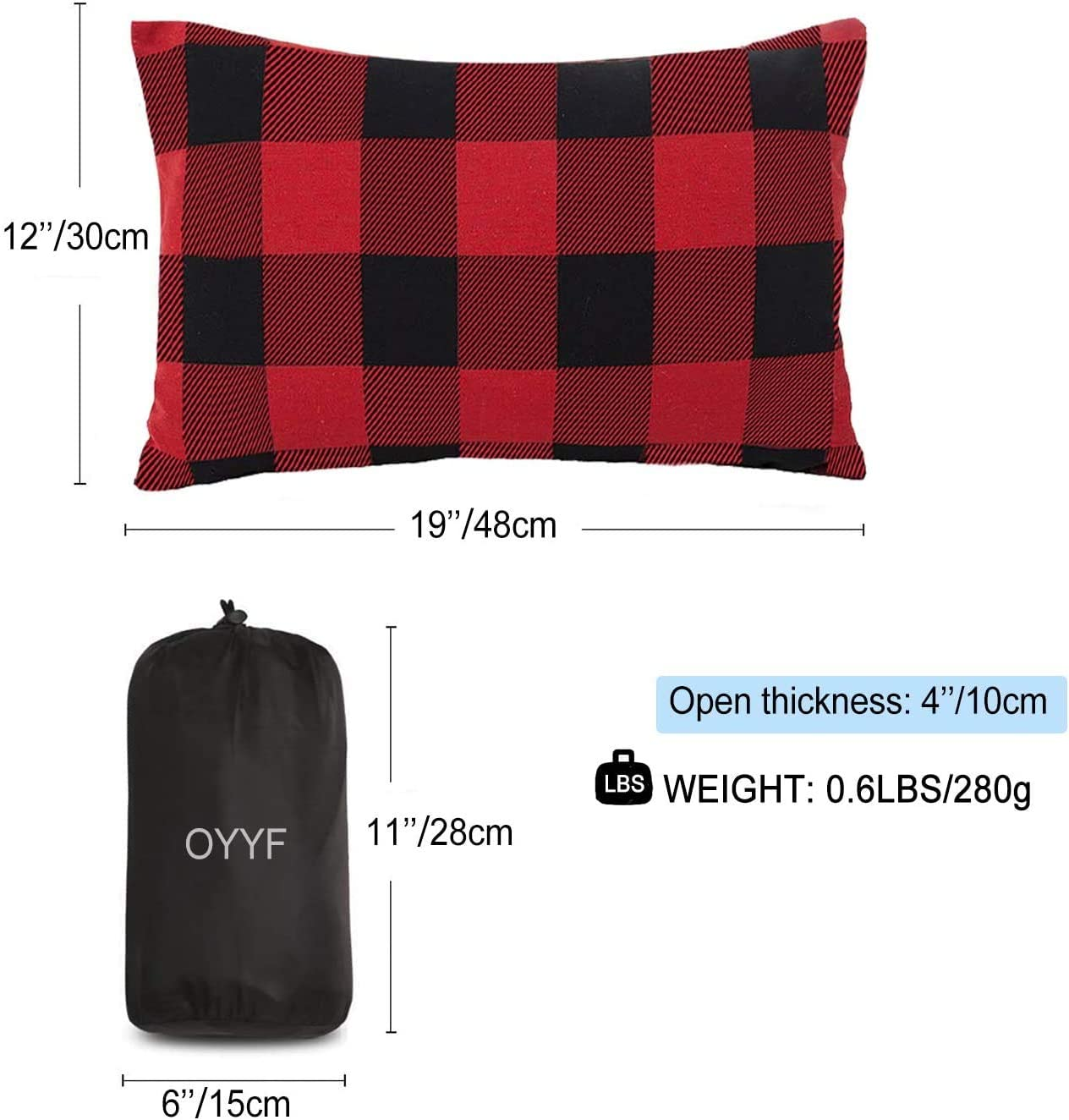 Removable Cover with Storage Bag OYYF Small Camping Pillow for Sleeping Compressible Lightweight Camp Pillow