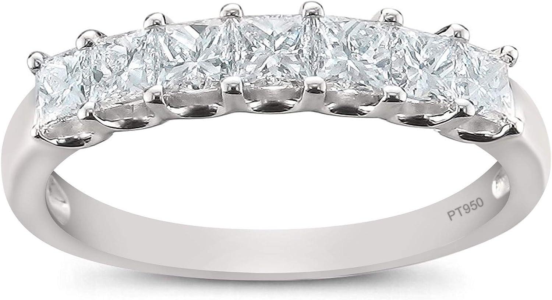 Platinum 7-Stone Princess-cut Diamond Bridal Wedding Band Ring (