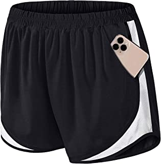 Fulbelle Womens Double Layer Elastic Wasit Running Athletic Shorts with Pockets