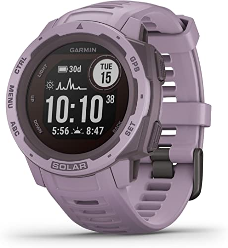 Garmin Instinct Solar, Solar-Powered Rugged Outdoor Smartwatch, Built-in Sports Apps and Health Monitoring, Orchid Pu...