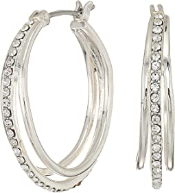 Everyday Crystal Metal Triple Hoop Earrings