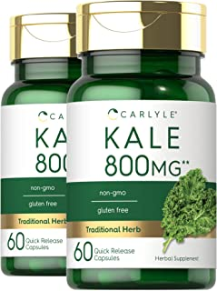 Carlyle Kale Extract 800mg | 2 Bottles - 60 Capsules Each | Non-GMO and Gluten Free