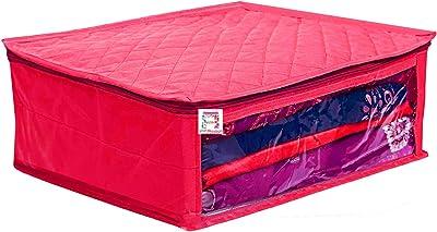 atorakushon® Fabric Saree Cover Garments Cover Bag Clothes Storage Wardrobe Organiser Pack of 1 (Pink)
