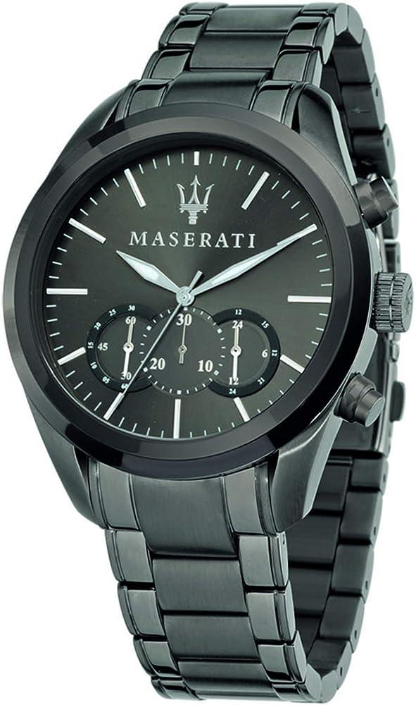 Maserati orologio cronografo da uomo, collezione traguardo da uomo, in acciaio e pvd canna di fucile 8033288647188