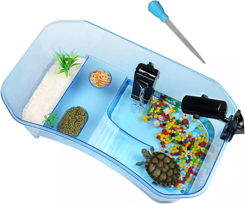 Plastic Binano 3 Piece,Turtle Tank+Plastic Flower+Dirt Absorber,Turtle kit,Pet TurtleTanks,Tank for Turtles Safe Durable,Blue Non-Toxic Reptile Habitat,Turtle Habitat