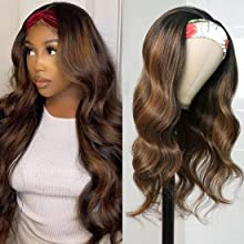 Headband Wig #FB30 Color Highlights Body Wave Human Hair Wigs Balayage Ombre Highlight With Dark Roots, Brazilian Virgin Hair None Lace Body Wave Headband Wigs For Women 150% Density