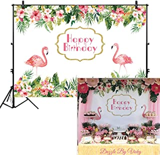 Allenjoy 7x5ft Flamingos Backdrop Tropical Hawaiian Background Let's Flamingle Girl Boy Birthday Party Dessert Candy Cake Table Decor Decoration Baby Shower Banner Photo Shoot Booth