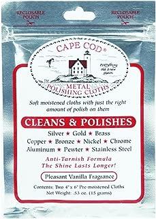 Cape Cod Metal Polishing Cloths Foil Pouch 0.53oz, 2 Count, Pack of 2