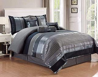KingLinen 7 Piece Marseille Gray/Black Comforter Set Queen