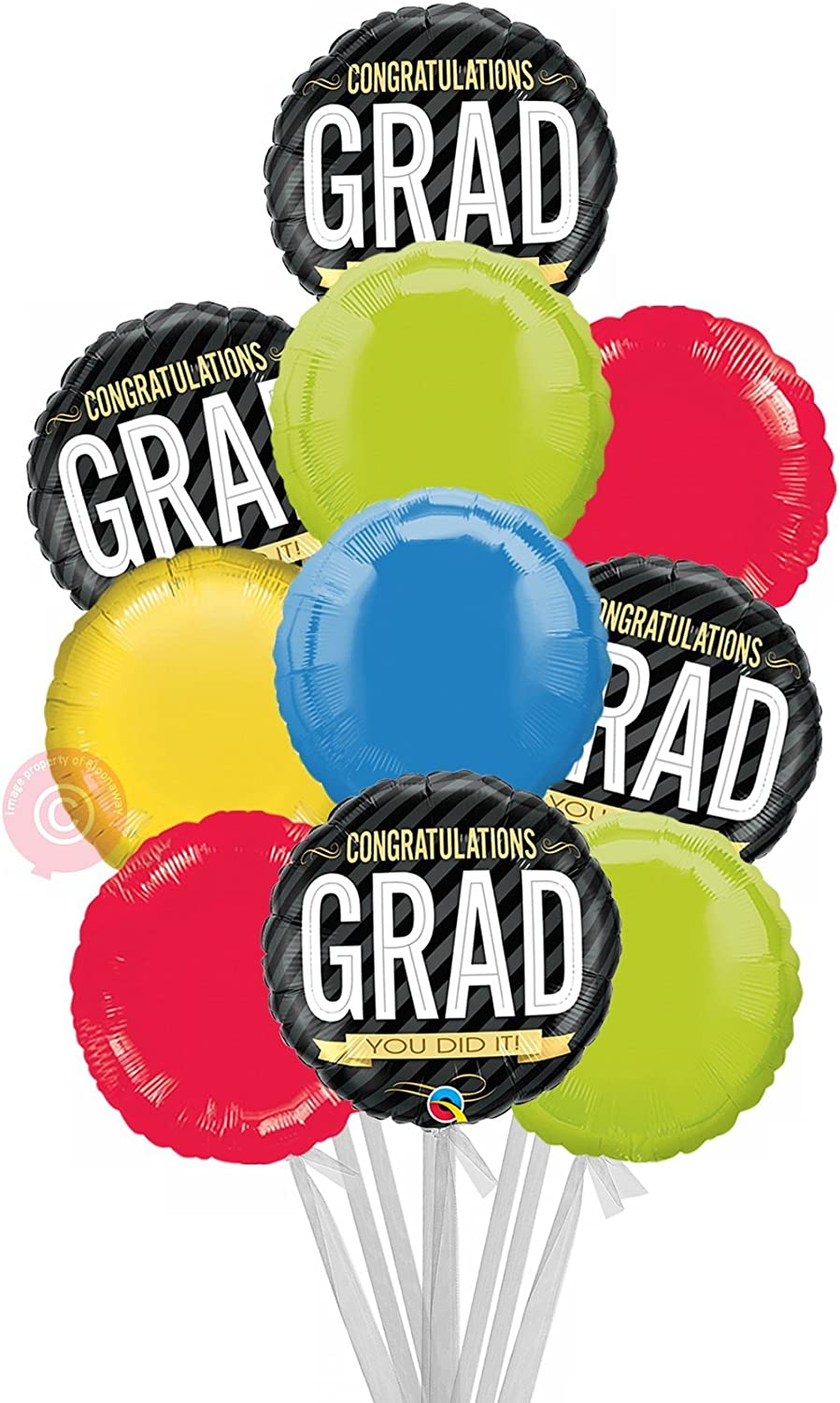 Congratulations Grad Stripes  Inflated Graduation Helium Balloon Delivered in a Box  Biggest Bouquet  10 Balloons  Bloonaway