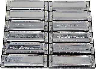 البجعة، مجموعة من 12 قطعة، 10 فتحات هارمونيكا 12 مفتاح # ABCDEFG Ab Bb Eb Gb
