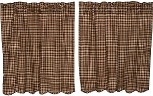 VHC Brands Rustic Kitchen Prescott Rod Pocket Cotton Plaid 36x36 Curtain, Tier Set, Brown