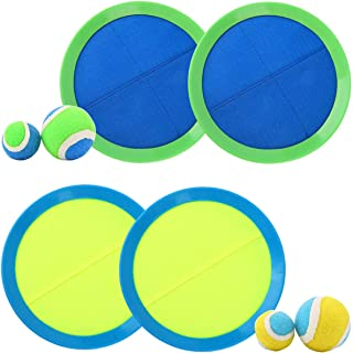 EVERICH TOY Ball and Catch Game-Paddles Toss and Catch Ball Set-Outdoor Sport Balls Game Toys for Kids(2 Smal Balls,2Big Balls,4 Paddles,1 Storage)