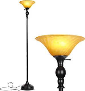 Brightech Evelyn LED Floor Lamp- Free Standing Tall Pole Torchiere Light - Dimmable Lamp for Living Room, Office Or Bedrooms- Modern Upright Design with Glass Shade - with Three Way LED Bulb - Black