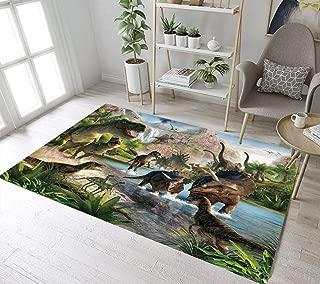 LB Wild Animal Dinosaur Rug Safari Theme Dinosaurs in River Jungle Scary Predator Area Rugs for Kids Playroom Bedroom,Non Slip Soft Living Dining Room Floor Mat 4'X5'3''