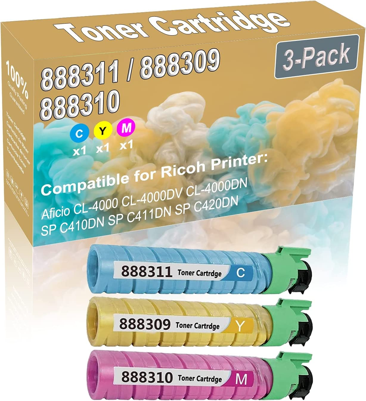 3-Pack (C+Y+M) Compatible High Yield 888311 888309 888310 Printer Toner Cartridge use for Ricoh Aficio CL-4000 CL-4000DV CL-4000DN Printers