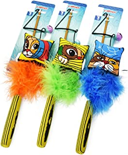 NACOCO Cat Teaser Wand with Catnip Feather Toy Exerciser for Cats and Kitten Interactive Cat Toy Color May Vary