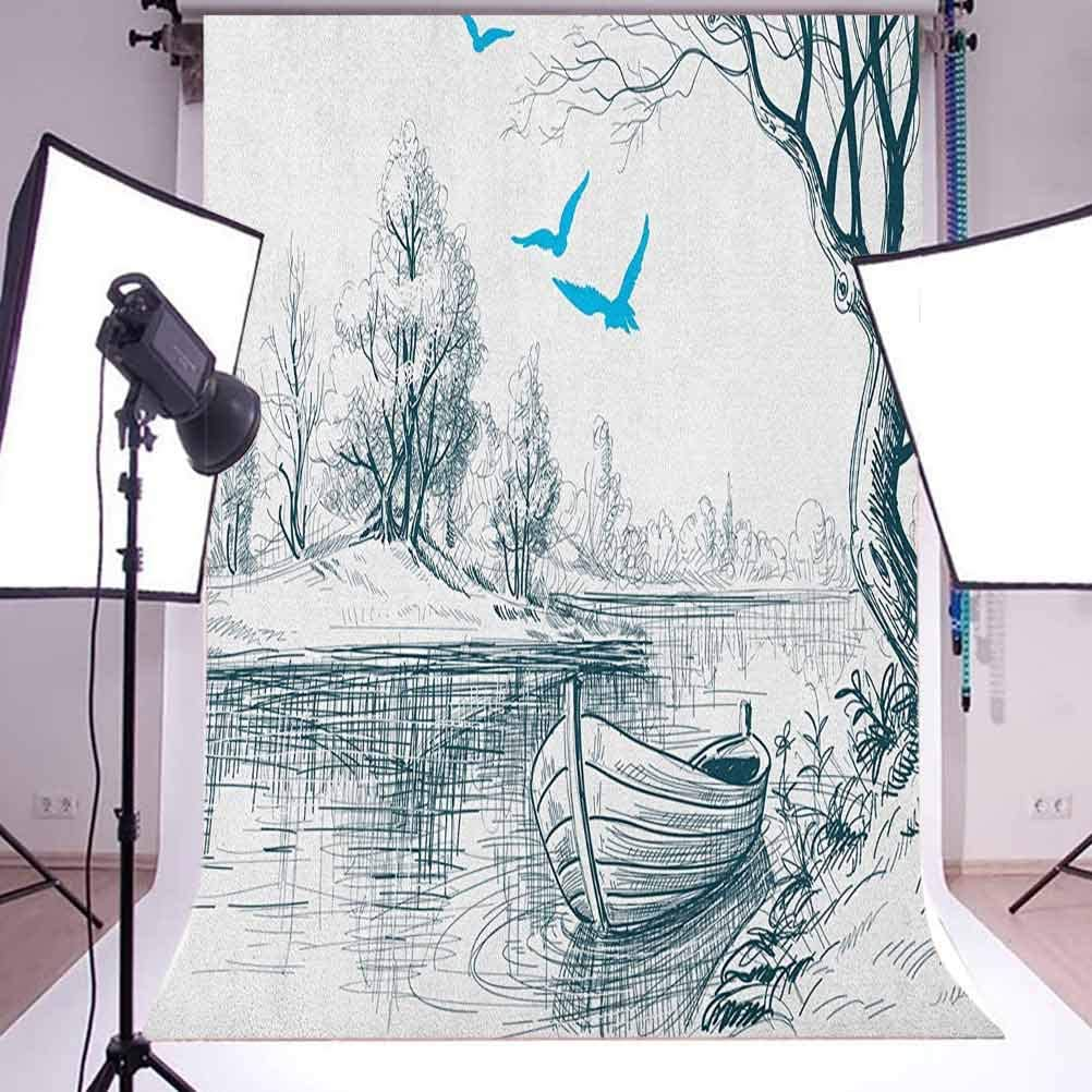 8x12 FT Landscape Vinyl Photography Backdrop,Boat on Calm River Trees Birds Twigs Sketch Drawing Clipart Water Minimalist Background for Baby Birthday Party Wedding Graduation Home Decoration