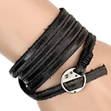 Fashion Adjustable Leather and Rope Cuff Bracelet Gift for Men Unisex Bracelet Sl0098-5