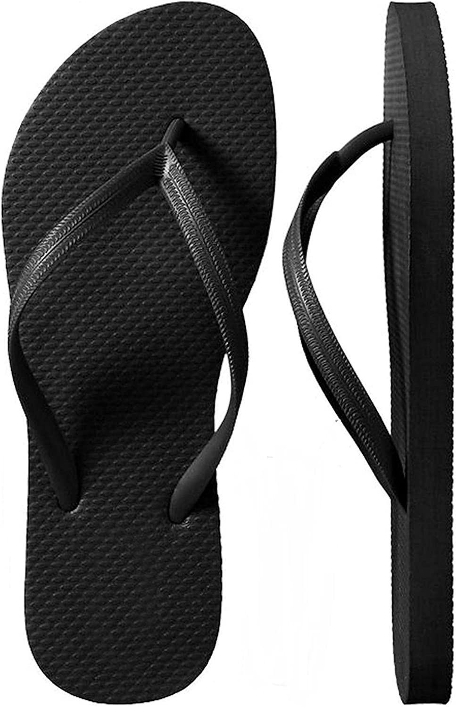 SLR Brands Women's Flip Flops Rubber Thong Flip Flop Sandal for Women (Large (US 9-10), Black) (Small (US 6))