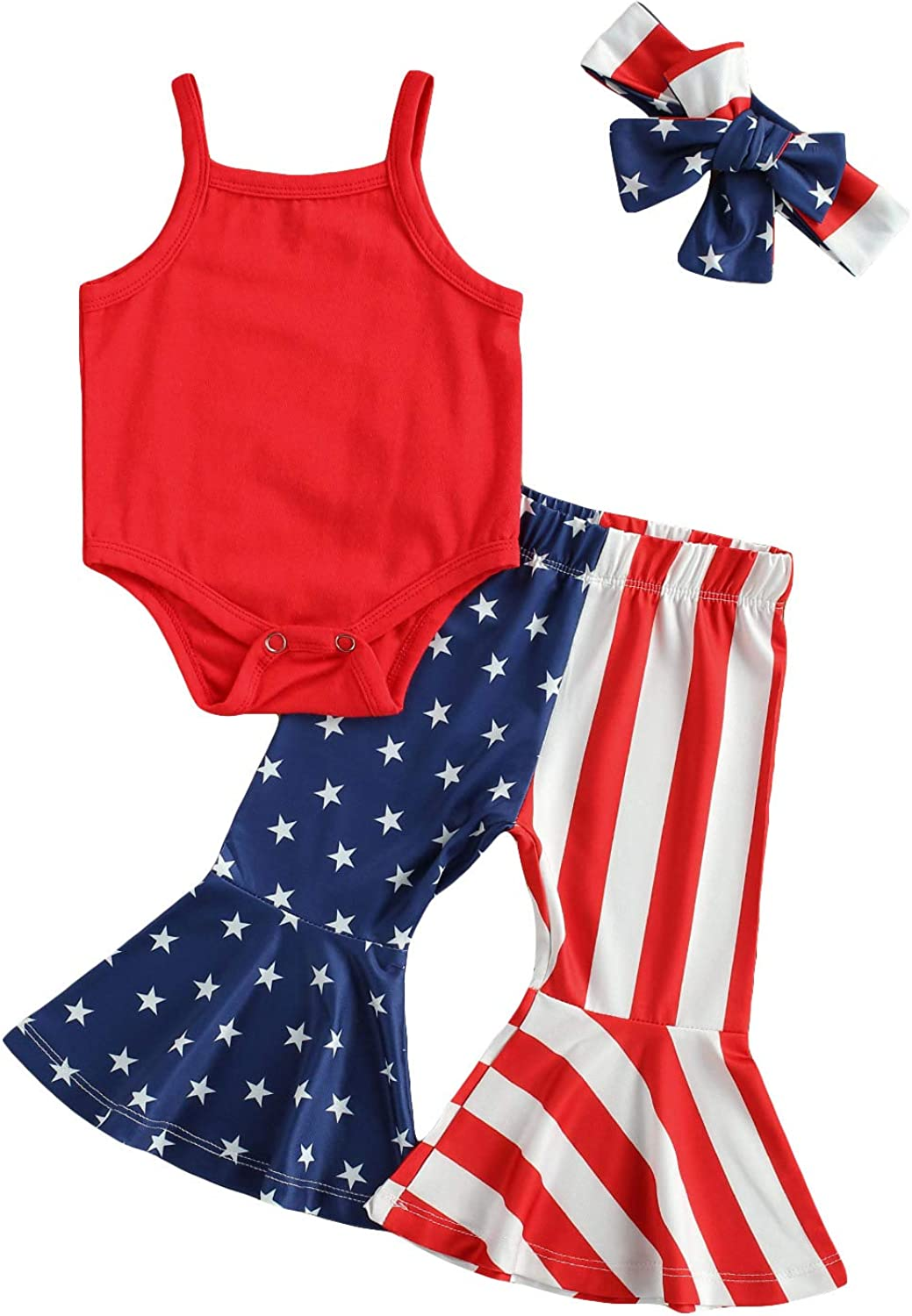 Infant Baby Girl 1st 4th of July Outfit Halter Romper Shirt Tops Flare Pants Set 2Pcs Independence Day American Flag Clothes