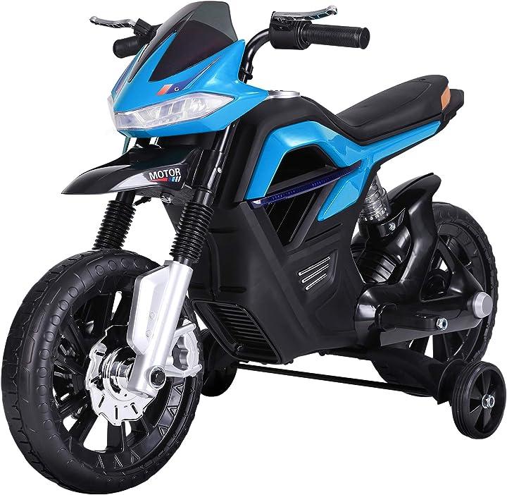 Moto cross elettrica per bambini da 6v realistica e sicura con fari e musica azzurro e nero homcom ?370-068BU